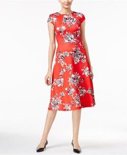 ECI - Floral-Print A-Line Scuba Dress