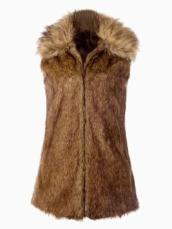 Choies - Brown Faux Fur Waistcoat with Fluffy Collar