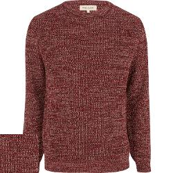 River Island - Red Twist Knit Crew Neck Sweater