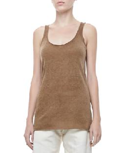 Donna Karan - Cashmere Scoop-Neck Tank, Dark Khaki