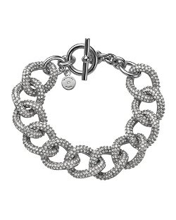 Michael Kors  - Silvertone Pave Curb-Link Bracelet