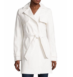 T Tahari - Belted Lace-Back Trenchcoat