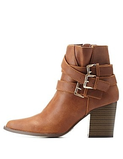Charlotte Russe - Qupid Pointed Toe Belted Boots