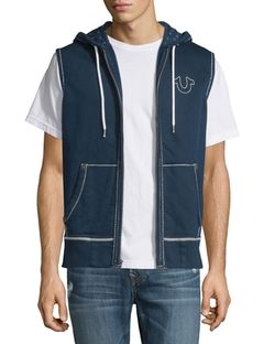 True Religion  - Contrast-Stitch Sleeveless Hoodie
