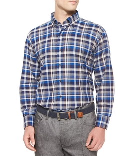 Peter Millar  - Milano Oxford Plaid Woven Sport Shirt