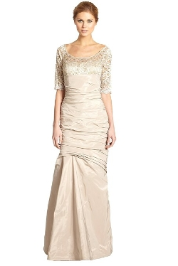 Teri Jon - Lace Trimmed Trumpet Gown