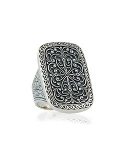 Konstantino - Large Silver Rectangle Filigree Ring