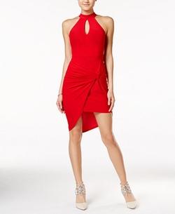 B Darlin - Asymmetrical-Hem Halter Bodycon Dress