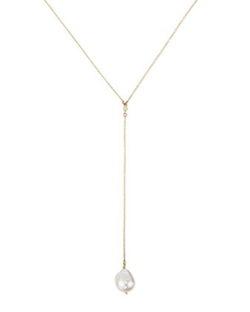 Mizuki  - Gold Y Drop Necklace with Diamond & Pearl
