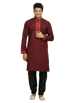 Saris and Things  - Maroon Indian Wedding Kurta