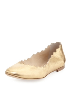 Chloe - Scalloped Metallic Ballerina Flats