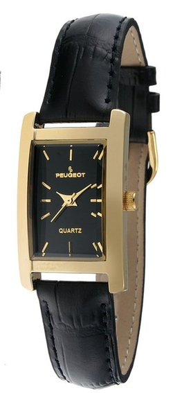 Peugeot - Gold-Tone Black Leather Strap Watch