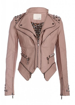Pretty Attitude - Dusty Pink Studded Punk Style Slim Fit Moto Jacket