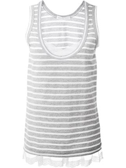 Sacai Luck - Lace Hem Striped Tank Top