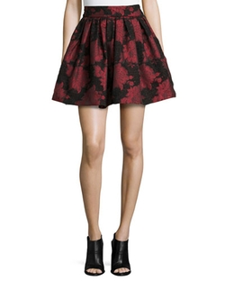 Alice + Olivia - Stora Floral-Jacquard Pleated Skirt
