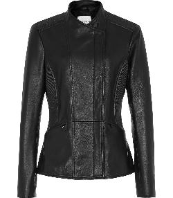 VELVET - RIBBED DETAIL LEATHER JACKET