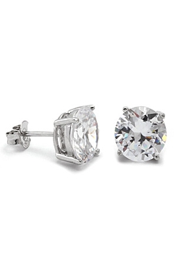 King Ice  - Round Sterling Silver Stud Earrings