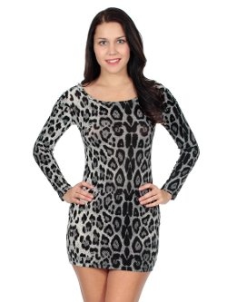 Simplicity - Sexy Dress Long Sleeves Leopard Print