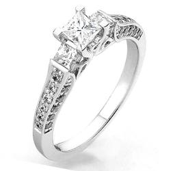 DazzlingRock Collection  - 14k Gold Princess & Round 3 Stone Diamond Ladies Bridal Engagement Ring