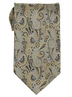 Adolfo  - Mens Tan Paisley Silk Neck Tie