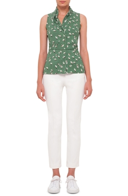Akris Punto - Sleeveless Print Stretch Cotton Blouse