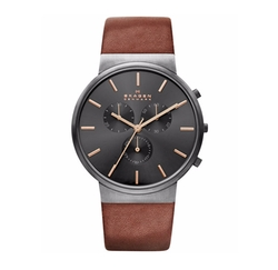 Skagen - Chronograph Ancher Brown Leather Strap Watch