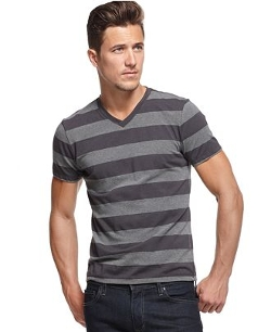Alfani RED  - Wide-Stripe V-Neck Tee