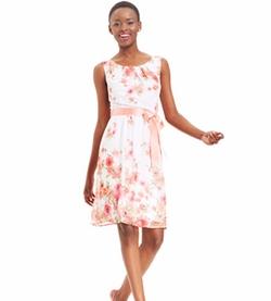 Connected - Floral-Print Ribbon-Belt Dress