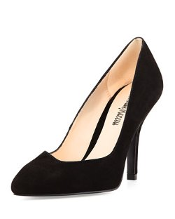 Neiman Marcus - Clearly Suede Leather High-Heel Pump Shoes
