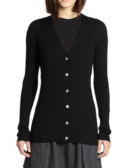 Vince  - Ribbed V-Neck Cardigan