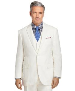 Madison Fit  - Ivory Linen Suit with Vest