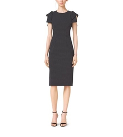 Michael Kors - Pindot Origami-Sleeve Stretch-Wool Sheath Dress