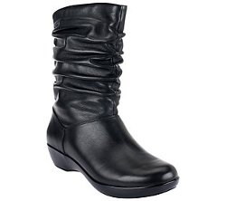 Dansko  - Leather Mid-Calf Ruched Boots