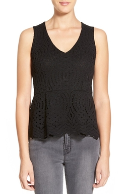 Willow & Clay  - Lace Peplum Tank Top