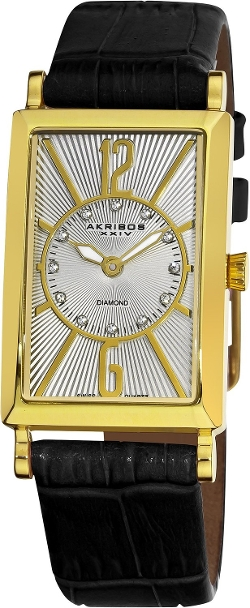 Akribos XXIV - Essential Rectangular Diamond Strap Watch