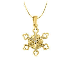 Fine Jewelry Vault - Diamond Flower Shaped Pendant Necklace