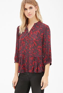 Forever 21 - Abstract Print Peasant Blouse