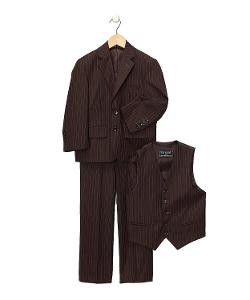 Ferrecci  - Brown Pinstripe Boys Kids Youth Premium Suit