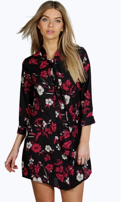 Boohoo - Emilia Tie Neck Floral Shirt Dress