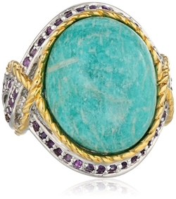 Amazon Collection  - Two-Tone Colors Amazonite and Amethyst Ring