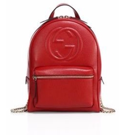 Gucci - GG Leather & Chain Backpack