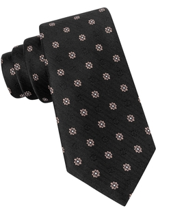 Black Brown 1826 - Herringbone Floral Embroidered Tie