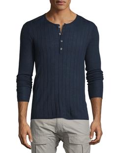 John Varvatos Star USA  - Ribbed Long-Sleeve Henley Shirt