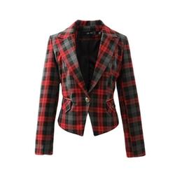 Mindeng - Lapel V Neck One Button Lattice Plaid Suit Jacket