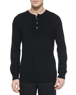 Vince	  - Cashmere Long-Sleeve Henley Tee