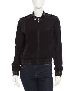 Fade to Blue  - Faux-Leather Contrast Bomber Jacket, Black