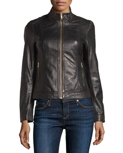 Bagatelle  - Leather Stand-Collar Biker Jacket