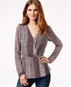 Michael Kors  - Printed Surplice V-Neck Top