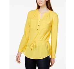 MICHAEL Michael Kors - Split-Neck Drawstring-Waist Top