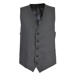 Dolce & Gabbana - Wool Gray Striped Button Down Vest